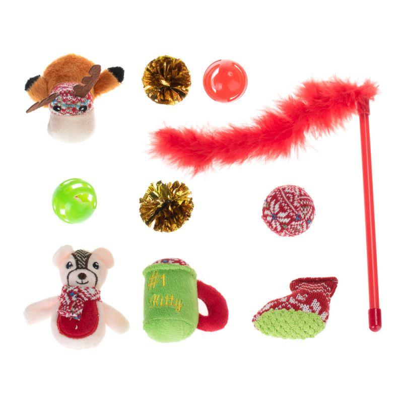 festive cat toy set