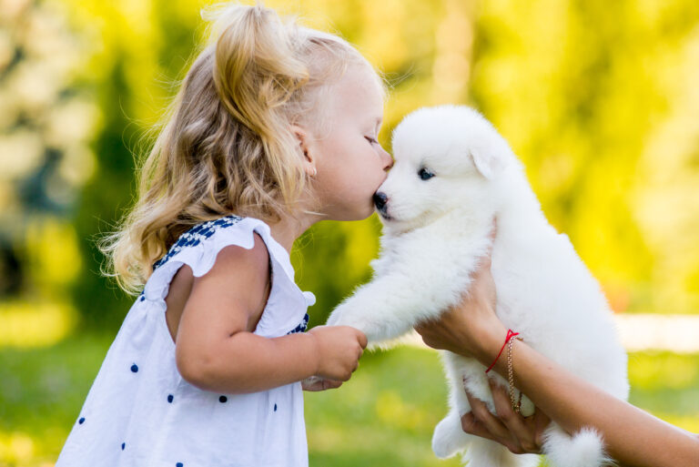 Child kissing a puppy